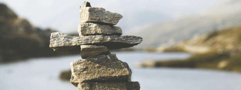 balanced tower of rocks (cairn)