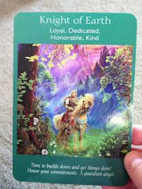 Angel Tarot Card: Knight of Earth - Loyal, Dedicated, Honorable, Kind