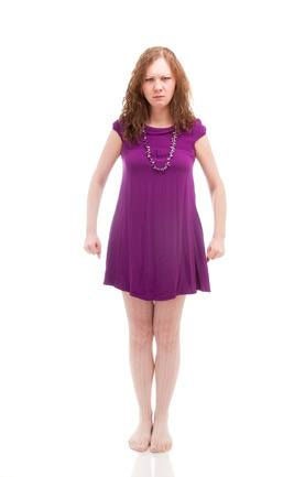 Stubborn woman in purple dress